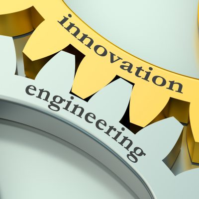 Engineering Innovation concept on the gearwheels
